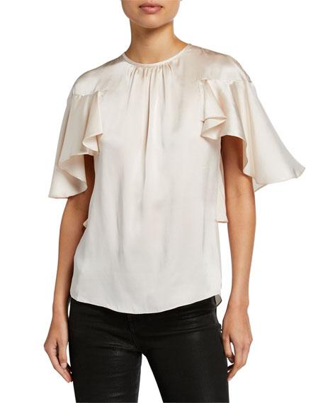 Elie Tahari Evangeline Crewneck Flutter-Sleeve Silk Blouse In Rich Cream
