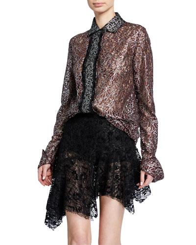 Metallic-Coated Lace Shirt