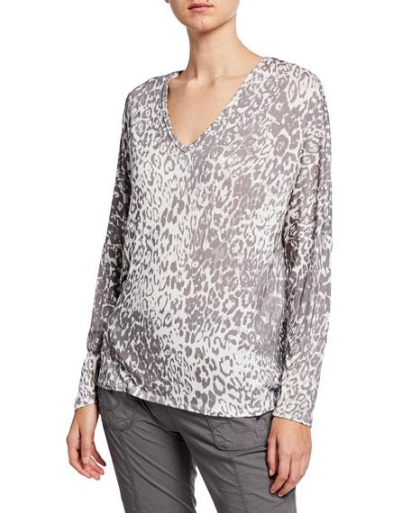 XCVI Plus Size Leopard Print V-Neck Long-Sleeve Top