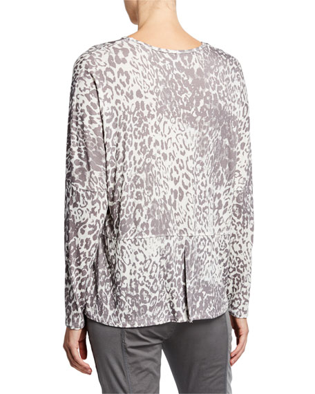 42a4b88b1c8 XCVI Plus Size Leopard Print V-Neck Long-Sleeve Top | Neiman Marcus