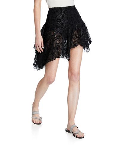 Velvet-Lace High-Low Skirt