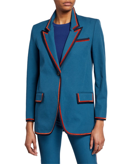 Derek Lam 10 Crosby Single-Button Blazer with Ribbed Trim