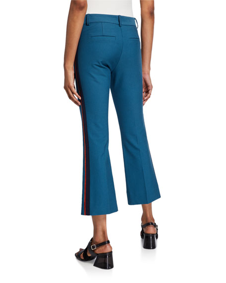 Derek Lam 10 Crosby Cropped Flare Trousers with Ribbed Trim
