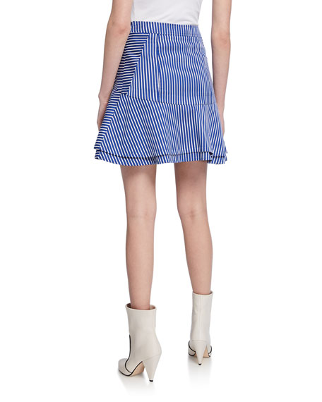Derek Lam 10 Crosby Striped Flared Short Skirt with Ruching