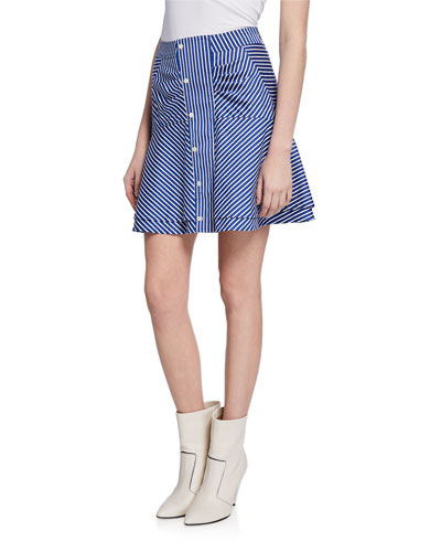 Striped Flared Short Skirt with Ruching