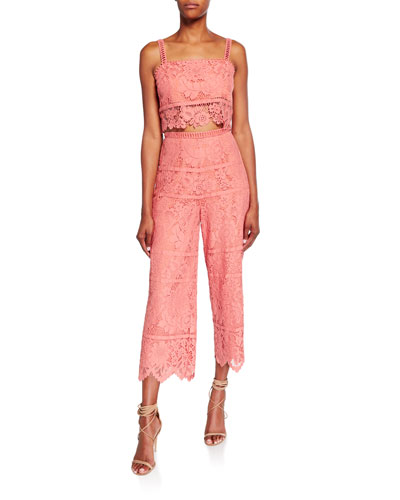 Willow Bold Floral Lace Set with Crop Top & Cropped Pant