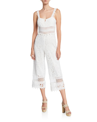 Gabri Floral Lace Sleeveless Crop Jumpsuit