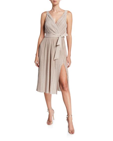 Saylor Jacki Pleated Metallic Sleeveless Dress w/ Slit