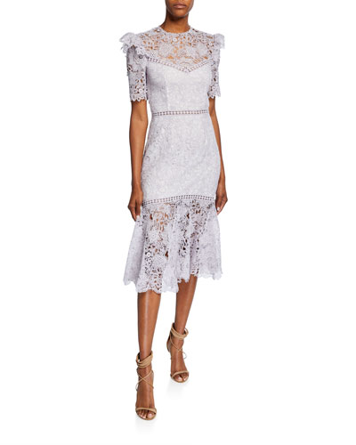 Lazuli Open-Back Short-Sleeve Fit-&-Flare Lace Cocktail Dress