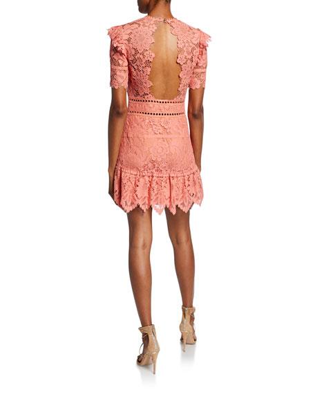 Saylor Sigourney Short-Sleeve Open-Back Bold Lace Mini Dress