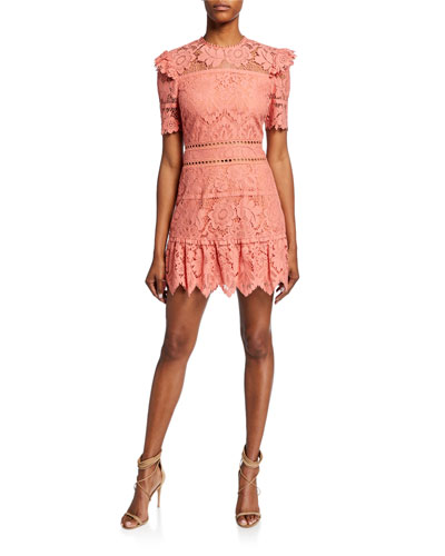 Sigourney Short-Sleeve Open-Back Bold Lace Mini Dress