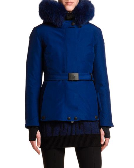 Moncler Laplance Belted Jacket w/ Fur Collar