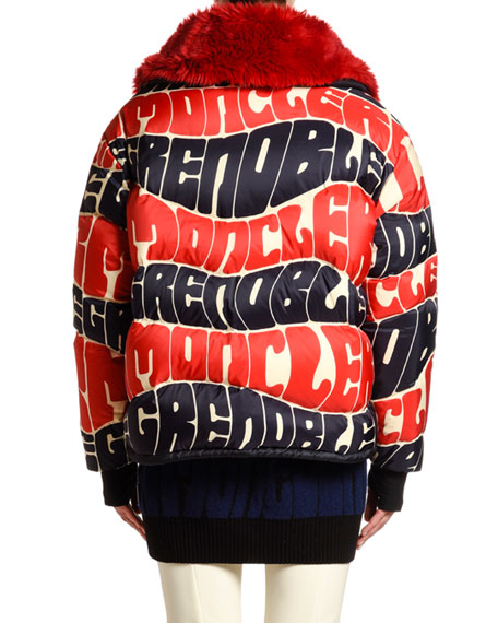 Moncler Logo Text Puffer Jacket w/ Faux Fur