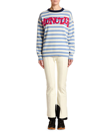 Moncler Striped Sweater w/ Logo Text