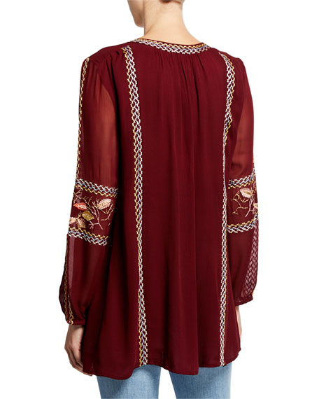 Tolani Plus Size Lauren V-Neck Long-Sleeve Tunic with Floral Embroidery