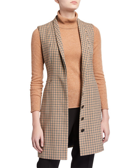 Elie Tahari Savannah Check Vest with Belt