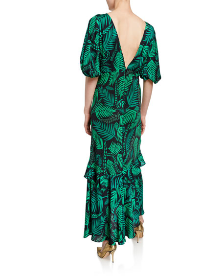 Image 2 of 2: Cheryl Palm Leaf-Print Georgette Dress