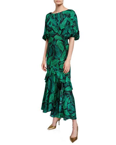 Cheryl Palm Leaf-Print Georgette Dress