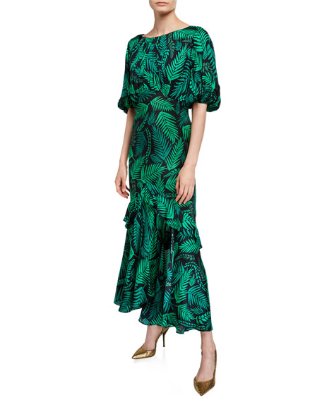 Image 1 of 2: Cheryl Palm Leaf-Print Georgette Dress