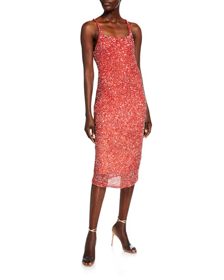 Parker Black Sage Beaded Ombre Cluster Midi Slip Dress