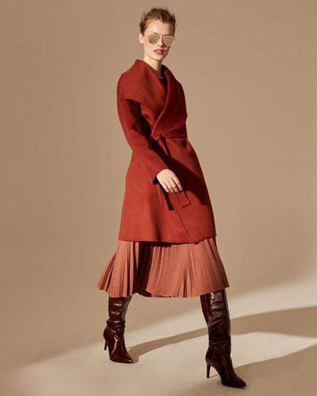 Neiman Marcus Cashmere Collection Double Face Cashmere Long-Sleeve Wrap Coat