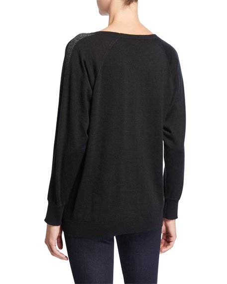 Neiman Marcus Cashmere Collection Metallic-Trim Long-Sleeve Cashmere Pullover