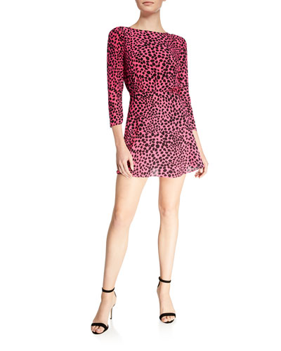 Kyla Printed 3/4-Sleeve Mini Dress