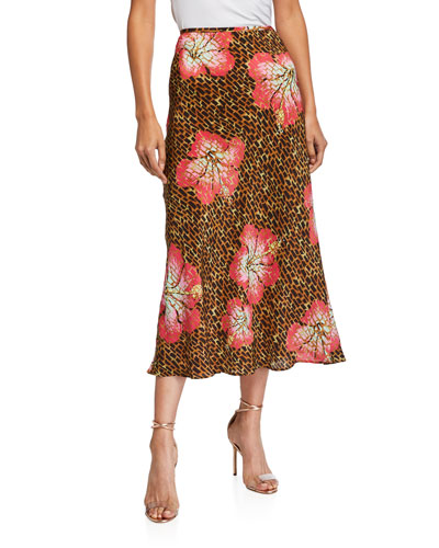 Kelly Printed Silk Slip Skirt