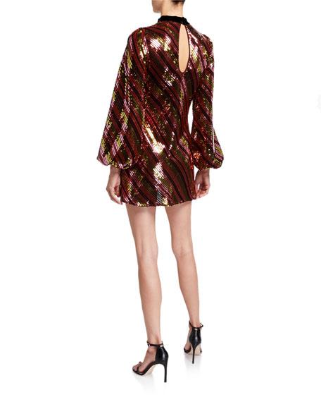 RIXO Harriet Sequined Blouson-Sleeve Cocktail Dress