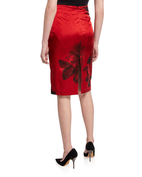 No. 21 Floral-Print Pencil Skirt