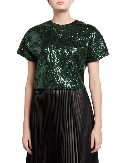 No. 21 Sequined Cropped Short-Sleeve Top