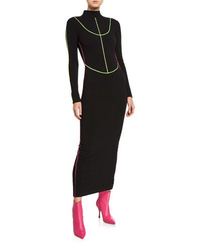 Stretch Knit Long Turtleneck Dress