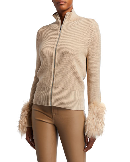 Elie Tahari Norah Zip-Front Wool Sweater with Fur Cuffs