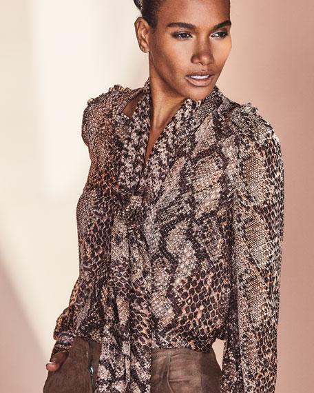 Elie Tahari Elizabeth Snake-Print Tie-Neck Blouson-Sleeve Blouse