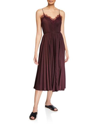 Lace-Trim Pleated V-Neck Dress