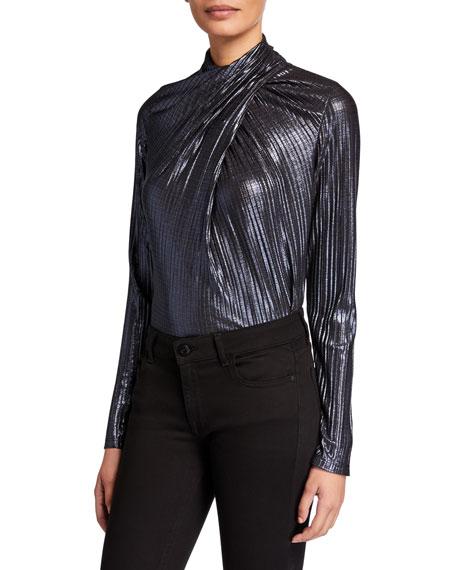 Elie Tahari Keilani Metallic High-Neck Long-Sleeve Twist Top