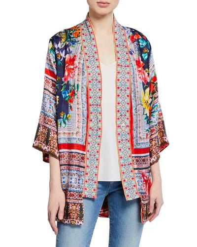 Plus Size Bernie Multi-Print 3/4-Sleeve Silk Georgette Kimono