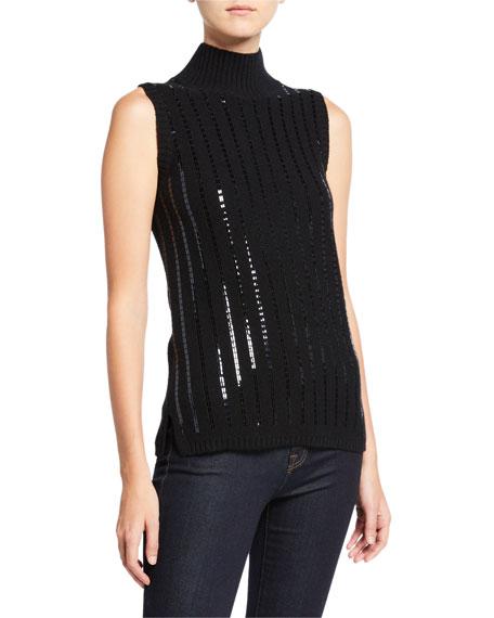 Neiman Marcus Cashmere Collection Sequin Stripe Sleeveless Cashmere Turtleneck Sweater
