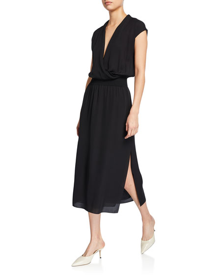 Theory Draped Surplice Short-Sleeve Midi Silk Dress