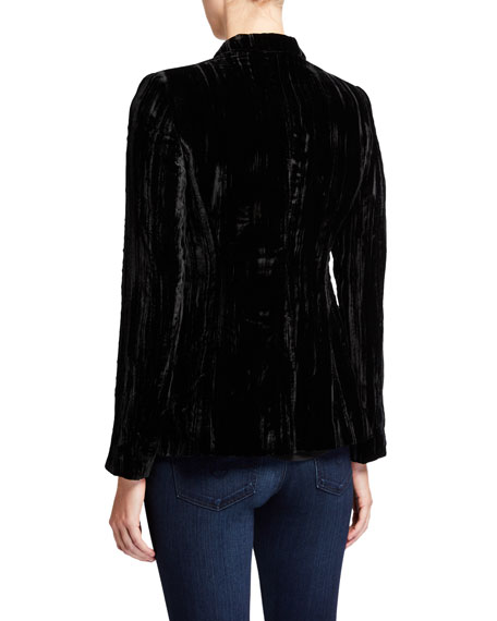 Elie Tahari Gemini Velvet One-Button Jacket