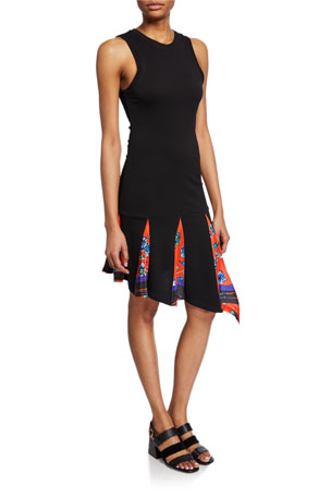 Derek Lam 10 Crosby Asymmetrical Tank Dress with Printed Godet Insert