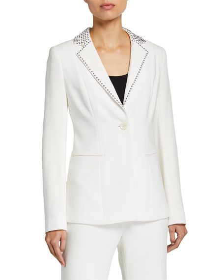 Elie Tahari Stella One-Button Stud-Trim Jacket