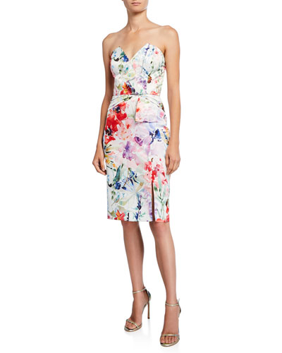 Posey Floral Strapless Cocktail Dress