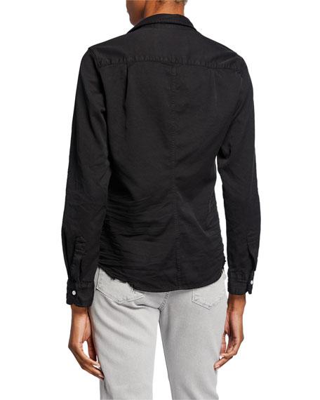 Frank & Eileen Barry Long-Sleeve Button-Down Frayed-Hem Shirt