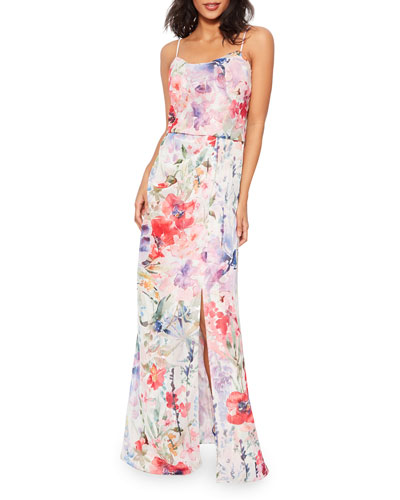 Delphine Watercolor Floral Sleeveless Column Dress with Slit