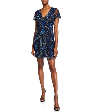 337ff4cd77e Aidan Mattox Beaded V-Neck Short-Sleeve Cocktail Dress