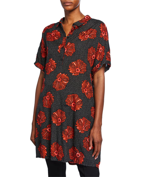 Masai Gizina Printed Shantung Short-Sleeve Tunic