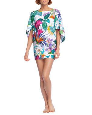 24e34334c5980 Trina Turk Amazonia Floral 1/2-Sleeve Tunic Coverup