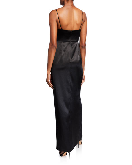 Aidan by Aidan Mattox Sleeveless Liquid Satin Draped Dress w/ Slit