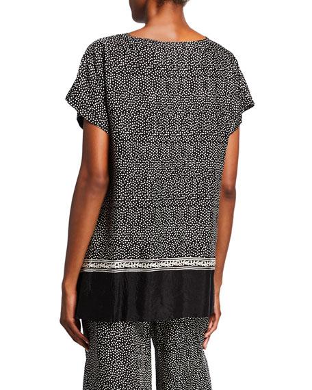 Masai Elvira Polka Dot V-Neck Short-Sleeve Shantung Top